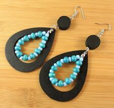 Black Tear Drop Wood Bohemian Dangle Earrings with Blue Wood Tear Drop #1855