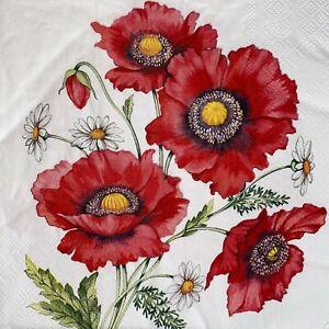 4 x Single Paper Napkins - Decoupage - Craft - Poppy Daisy Flower Scene B205