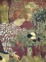 EDOUARD VUILLARD FRENCH WOMAN STRIPED DRESS OLD ART PAINTING POSTER BB5234A