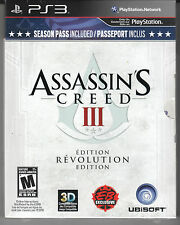 Assassin's Creed III 3  RARE Revolution Edition PS3 - **NEW**