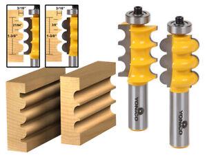 "Triple Bead & Flute Furniture Molding Router Bit Set - 1/2"" Shank - Yonico 16260"