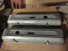 1958 Corvette P/N 3726086 7 Fin Valve Covers Staggered Holes Low Profile Script
