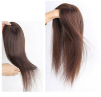 100% Natural Long Straight Real Human Hair Clip In Top Topper Toupee Hairpiece