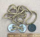 """WW1 Dog Tags w Masonic Pendant Medal """"In Case of Distress Please Notify"""" Antique"""