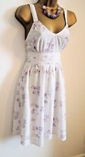 Beautiful White Lilac and Silver Floral Summer Dress Size S