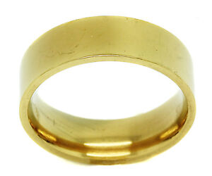 Mens Gold Plated Yellow Stainless Steel Plain Simple Band Fashion Jewelry Ring
