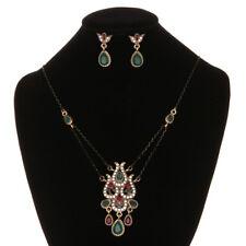 En Emerald Gems Necklace Earrings Jaipuri Jewelry Antique Finished Vintage Gold
