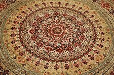 c1970s Fine Highly Detailed Round Silk Persian Qome Rug 5.1 Silk High Kpsi