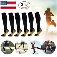 [3-Pairs] Mens Womens Copper Infused Compression Socks 20-30mmHg Graduated