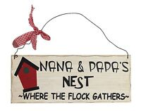 """Wooden Wall Plaque 'Nana & Papa's Nest - Where the Flock Gathers.' 10""""x 4"""" NWT"""