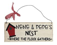 "Wooden Wall Plaque 'Nana & Papa's Nest - Where the Flock Gathers.' 10""x 4"" NWT"
