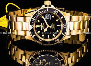 Invicta Men PRO DIVER Quartz Black Dial 18Kt Gold SS Bracelet 40mm Watch