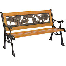 Min Patio Park Bench with Safari Animal Accents Kids Sized Resin Backrest Brown