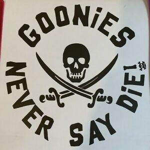 1x Goonies Vinyl Sticker Car Camper 80's Vanlife Never Say Die 5in Charcoal