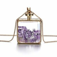 1PC Women Charm Crystal Glass Locket Pendant Necklace Sweater Chain Jewelry Gift