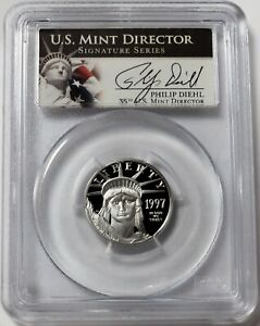 1997 W PLATINUM $25 AMERICAN EAGLE 1/4oz DIEHL SIGNED PROOF COIN PCGS PR 69DCAM