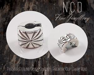 NC Designs Authentic Pandora Sterling Silver Sunburst Firework Clip Charm Bead