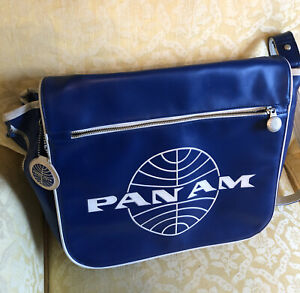 Vintage Pan American Pan Am Airlines Travel Messenger Bag Blue With Tag Laptop