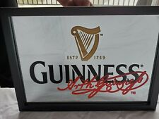 """*** GUINNESS ***  Mirror Bar Sign with Harp and """"Arth Guinness TM"""" Signature"""