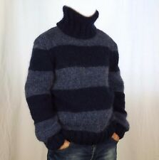 Hand Knitted  WOOL  MOHAIR Pullover Men Sweater Turtleneck SOFT fuzzy Jumper L