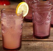 Pioneer Woman Adeline Plum Lavender Purple 16 Oz Embossed Glass Tumblers TWO NEW
