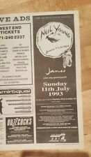 Neil Young Finsbury Park 1993 Press Werbeanzeige 12 x 39 cm Mini Poster
