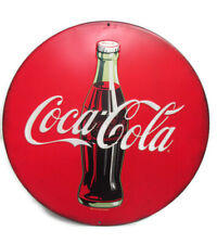 Coca-Cola Disc Sign Tin Red Contour Bottle 12 inches Round  - BRAND NEW