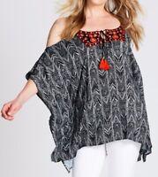 Crossroads Viscose Embroidered Tassel Kaftan-Tunic Size 16-18 (Free Post)