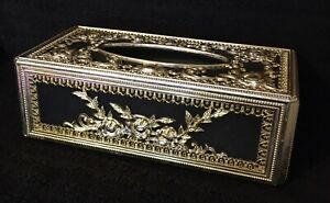 Ornate Black Velvet Gold Tone Tissue Box Cover Floral Beautiful Some Fading