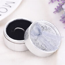 Lace Bow Tie Round Paper Velveteen Cardboard Ring Box Jewelry Accessories Case;!