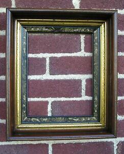 Deep Victorian Black Trimmed Picture Frame Diamond Gilt Carved Tortoise 8 x 10