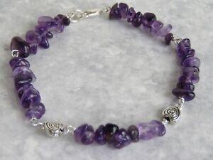 Semi Precious Stone Purple Amethyst Bracelet  (bs36)