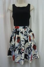International Concepts Dress Sz 14 Black White Red Multi Floral Sleeveless Dress