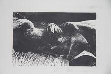 DUBIGEON Loic- Lithographie originale signée- Jeune femme nue dans l'herbe