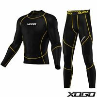XOGO Mens boys Compression Armour Base layer Top Skin Fit Shirt + Leggings set,