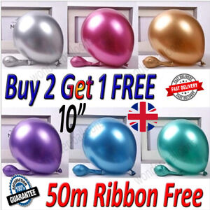 "10"" 100CHROME BALLOONS METALLIC LATEX PEARL Helium Baloon Birthday Party uk"