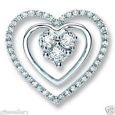 SOLID 18CT WHITE GOLD 0.40CT G/H SI1 DIAMOND TRIPLE HEART PENDANT & CHAIN