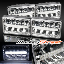 4PC 4X6 H4651/H4652/H4656/H4666 HI-POWER 50W LED SEALED BEAM CHROME HEADLIGHTS