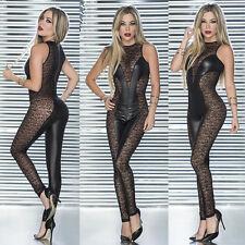 Sexy Catwoman False Leather Lace Wetlook Jumpsuit Catsuit Club Fancy Dress 2412