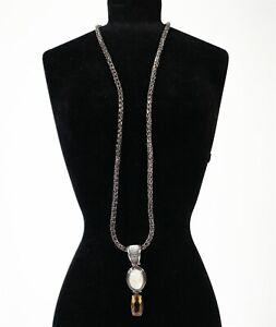 Vintage NWT Lori Bonn 925 Sterling Silver MOP Quartz Pendant Necklace 24.8g