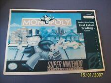 Monopoly SNES 16 Bit Super Nintendo Vidpro Card