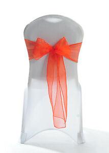 100 Tiger Lilly Blood Orange Sparkle Organza Chair Bow Sash Wedding UK
