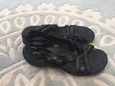 97b5f2f333a0 Merrell SUNDIAL BRAID Black Leather Strappy Sandals 7 Nice!