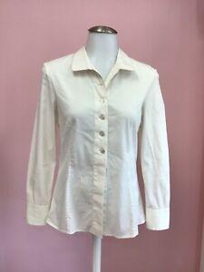 Akris 2 4 XS White Ivory Cotton Womens Designer Blouse Shirt Top