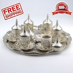 27 Count Turkish Ottoman Greek Arabic Coffee Serving Cup Saucer Gift Set Silver