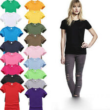Ladies Womens Plain Cap Sleeve T-Shirt Value weight Tee Vest Top Size 8-22