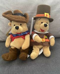 "Walt Disney World- Winnie the Pooh Bean Bag Plush 8"" X 2 Cowboy And Pilgrim Pooh"