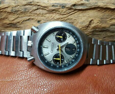 VERY RARE USED VINTAGE CITIZEN BULLHEAD CHRONOGRAPH SILVER DIAL MAN'S WATCH