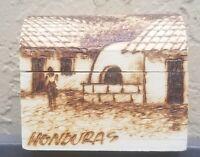 Vintage Honduras Hand Painted Floral Wood Trinket Jewelry Box