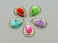 100 Mixed Color Acrylic Flatback Teardrop Rivoli Rhinestone Gems 13X10mm Pyramid